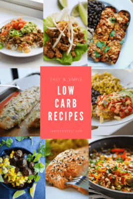 Low Carb Recipes with different pictures of food