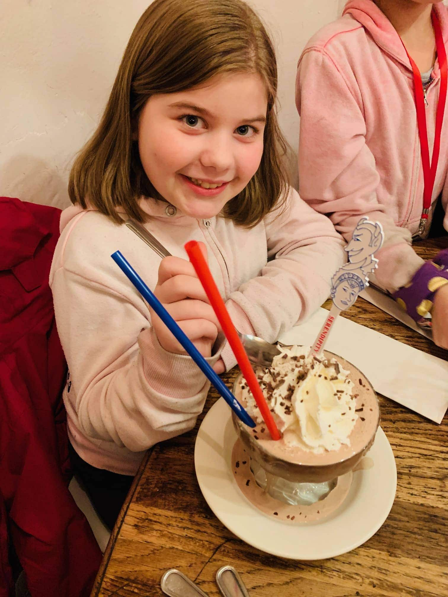 Brooke with a milkshake