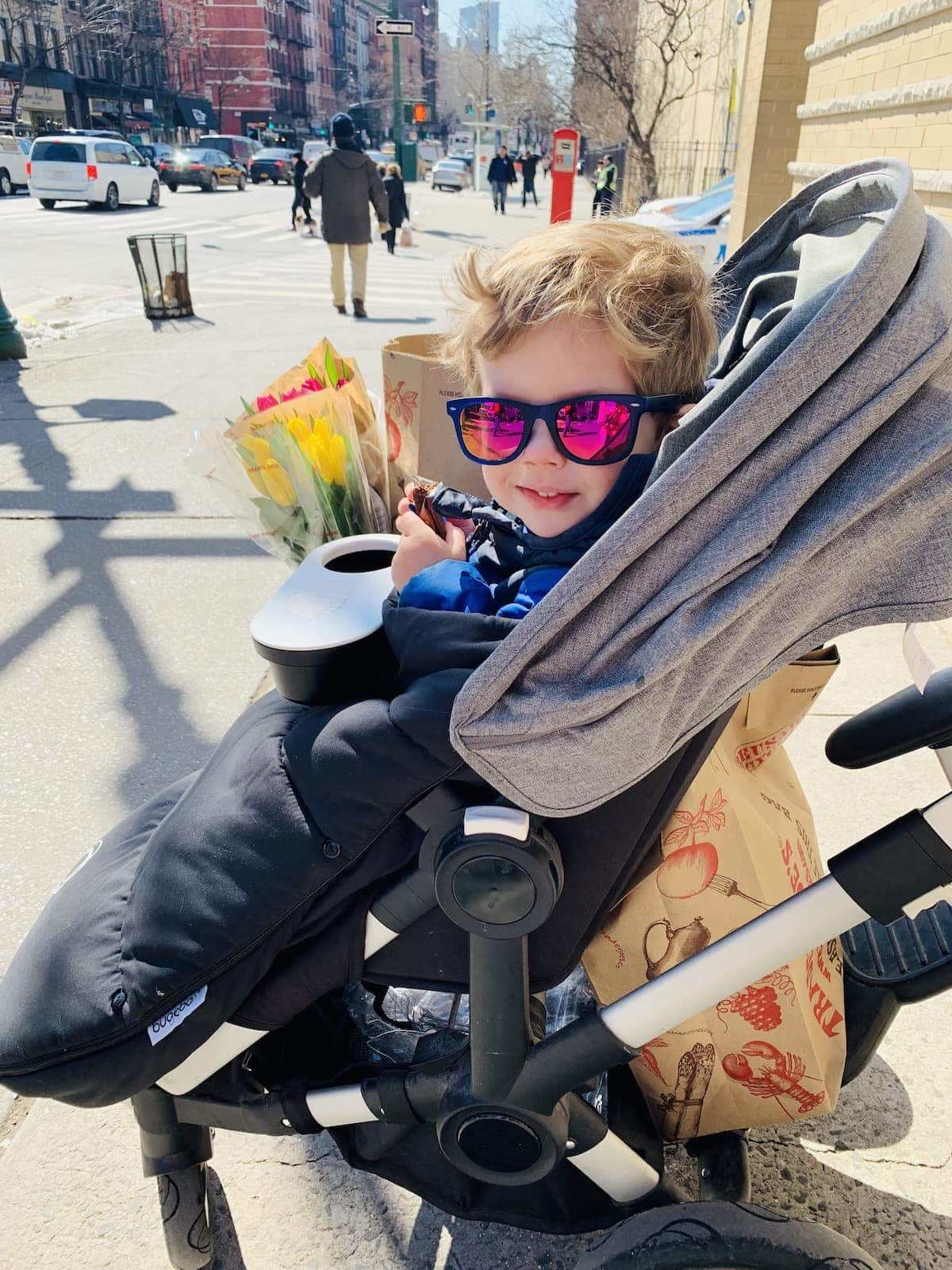 Eddie in the stroller With sunglasses on