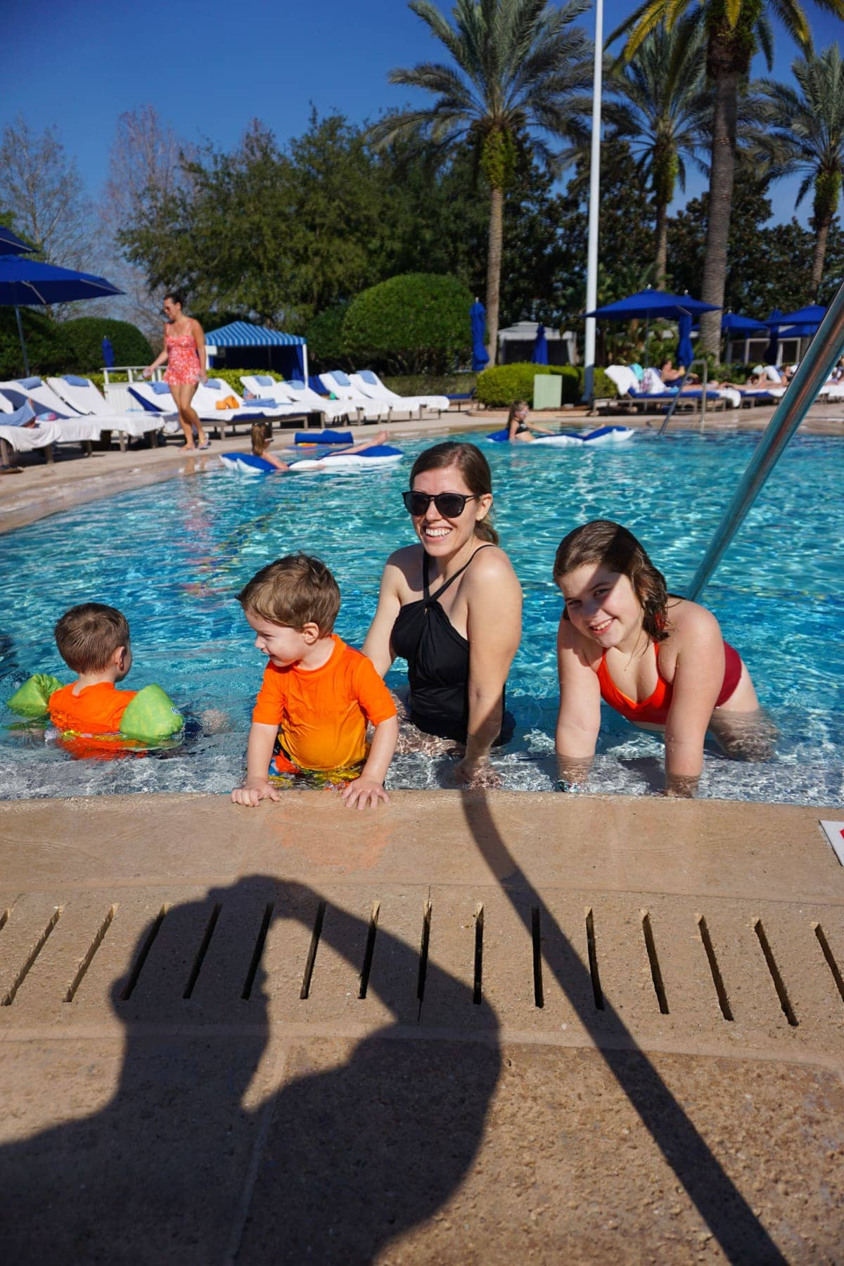 Lauren and the kids in the pool