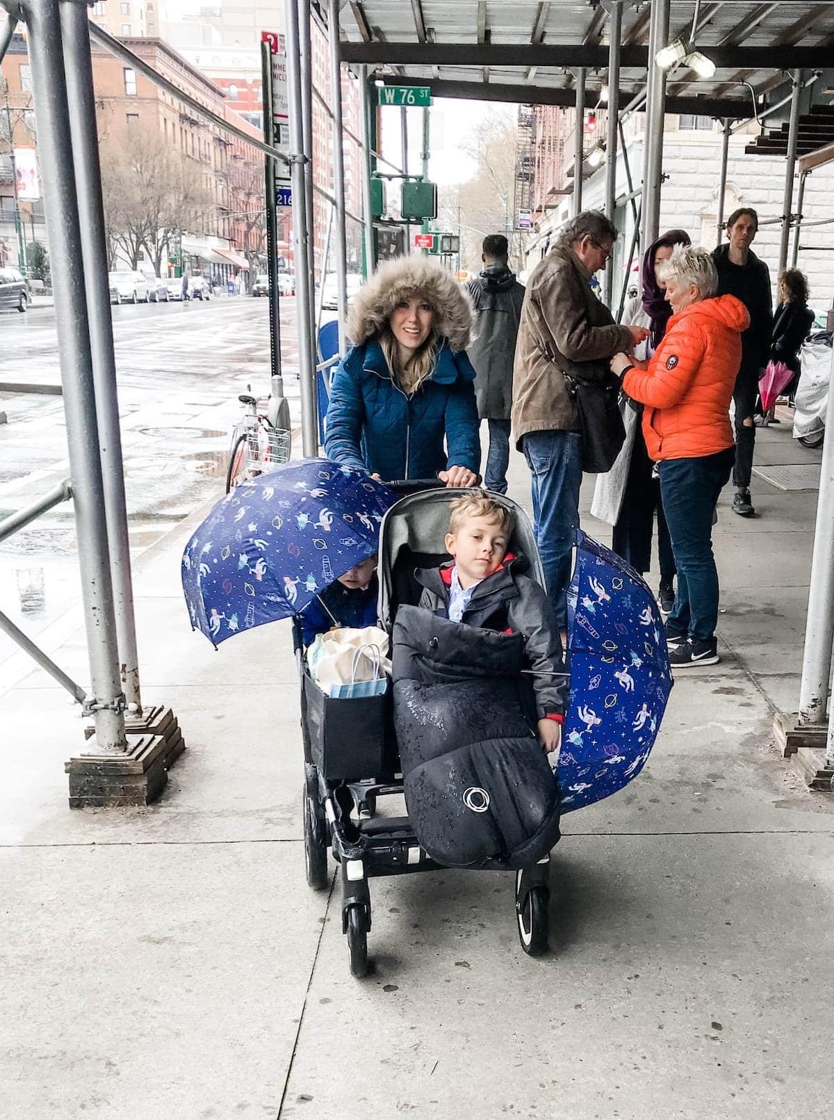 Lauren pushing the stroller Full of kids