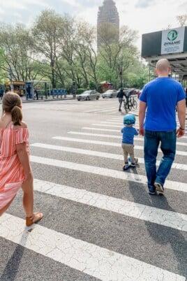 Gordon Eddie and Brooke crossing the street