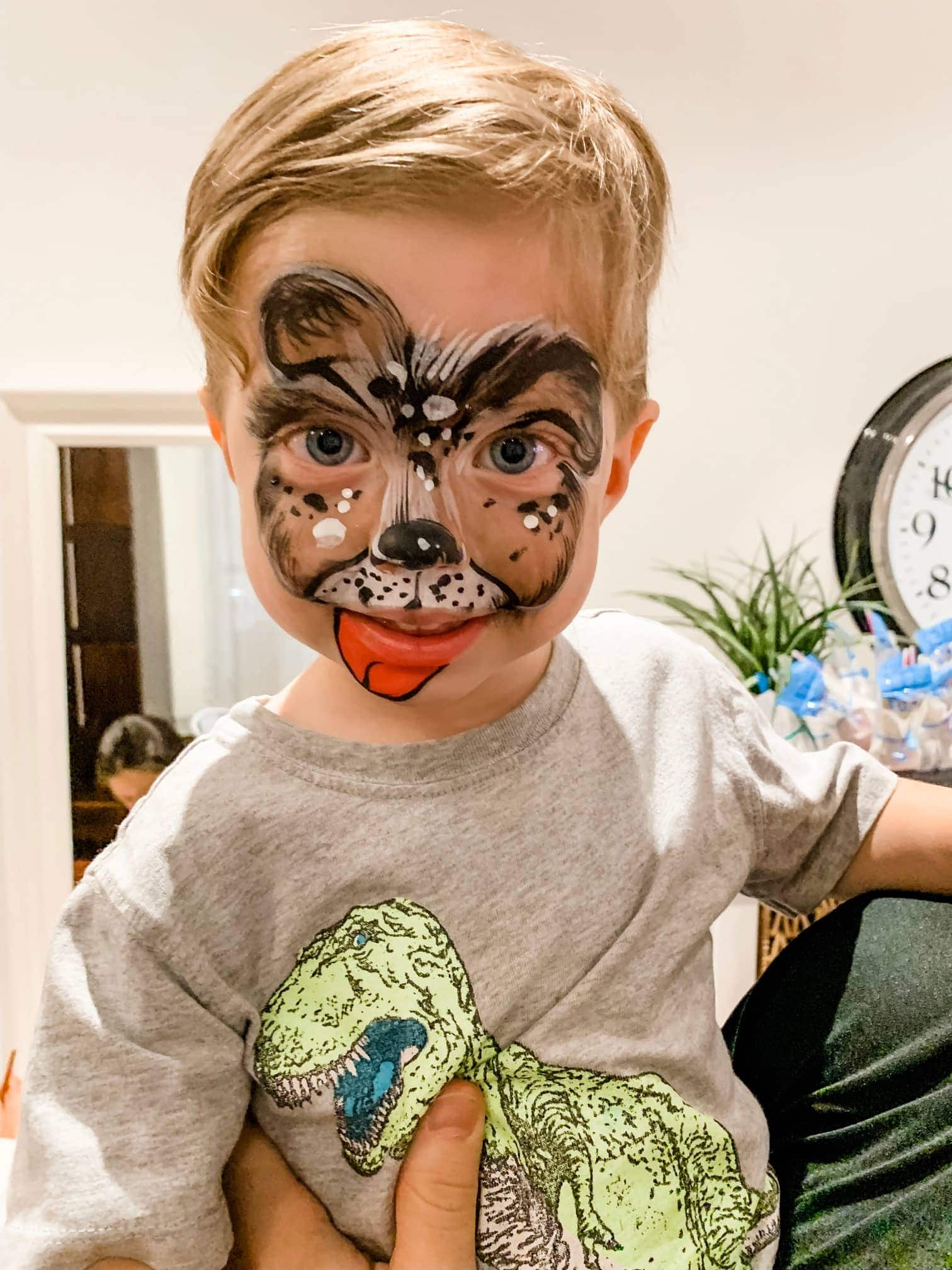 Eddie with face paint on