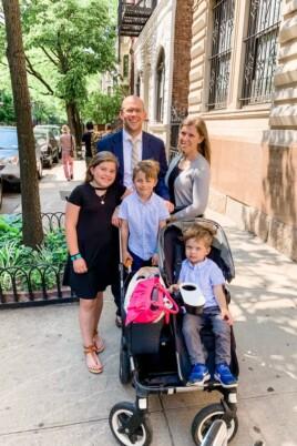 Brennan family on the sidewalk