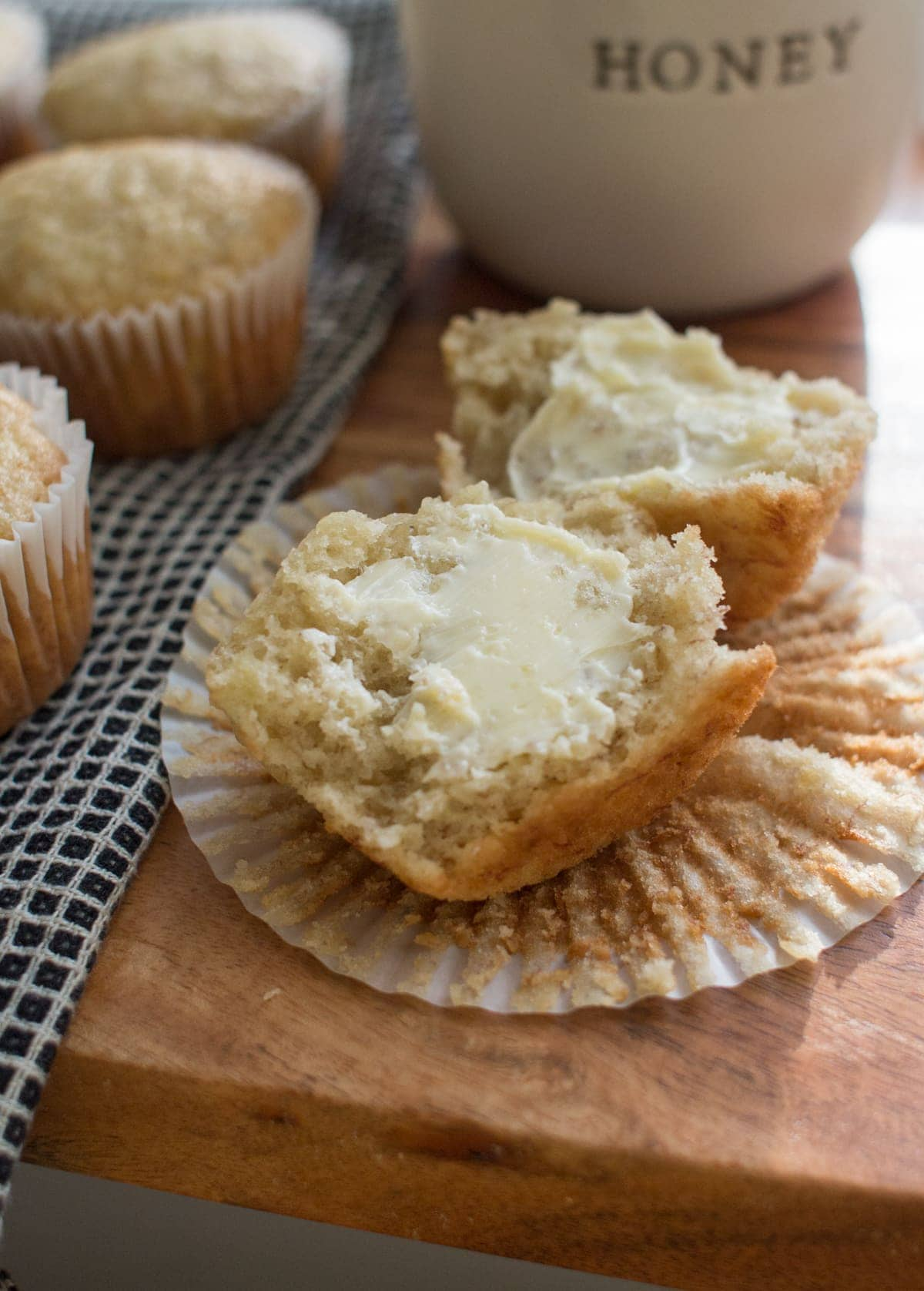 half banana muffin with butter