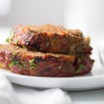 A close up of a plate of Meatloaf