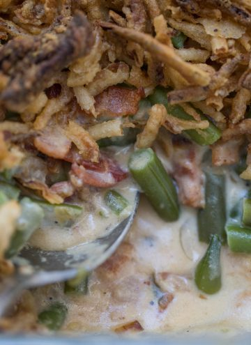 Close up of green bean casserole