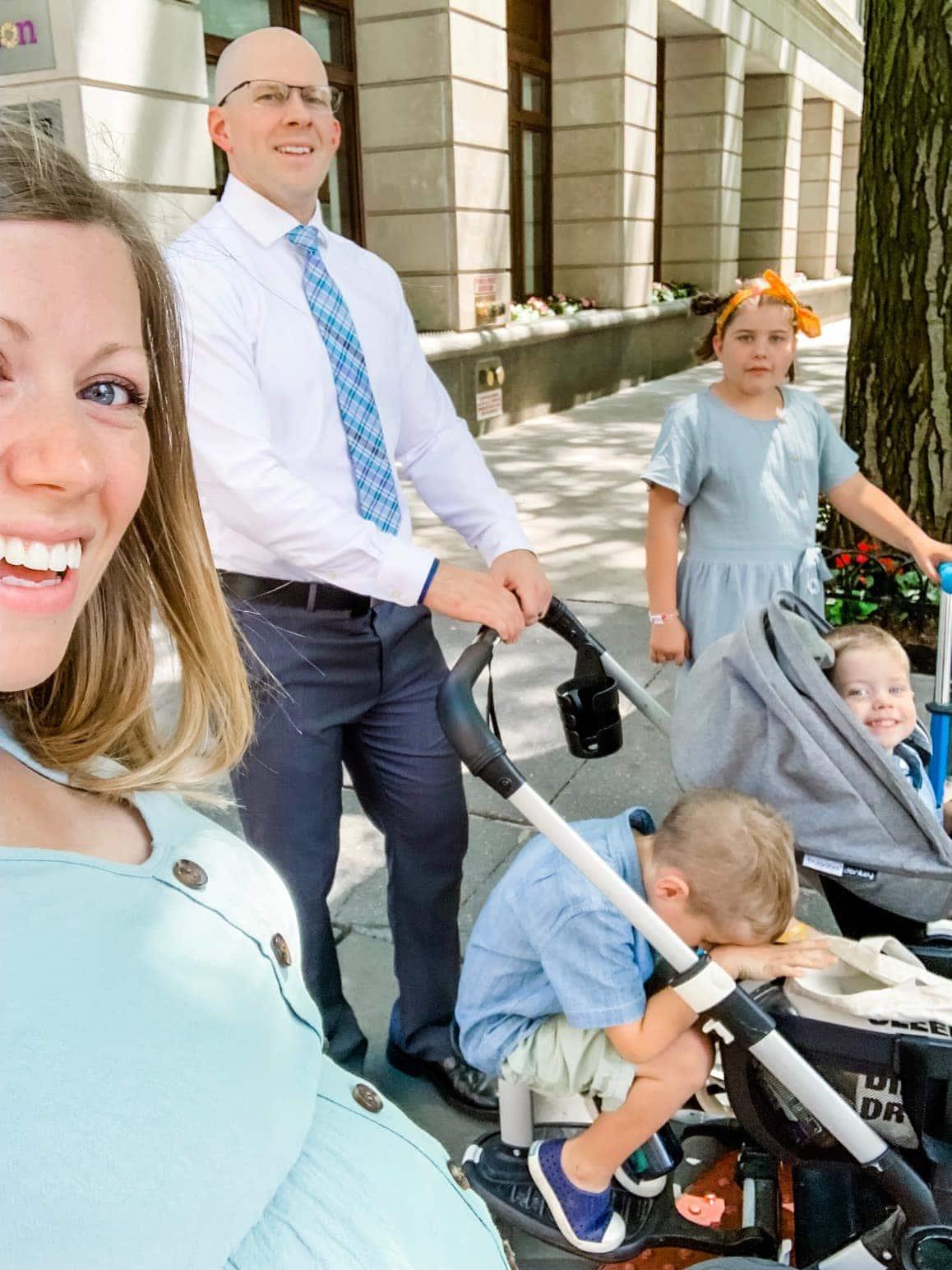 Brennan family walking to church