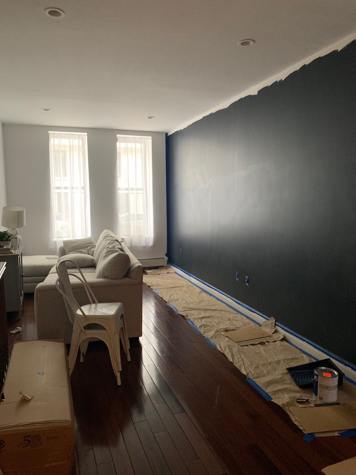Painting the living room wall