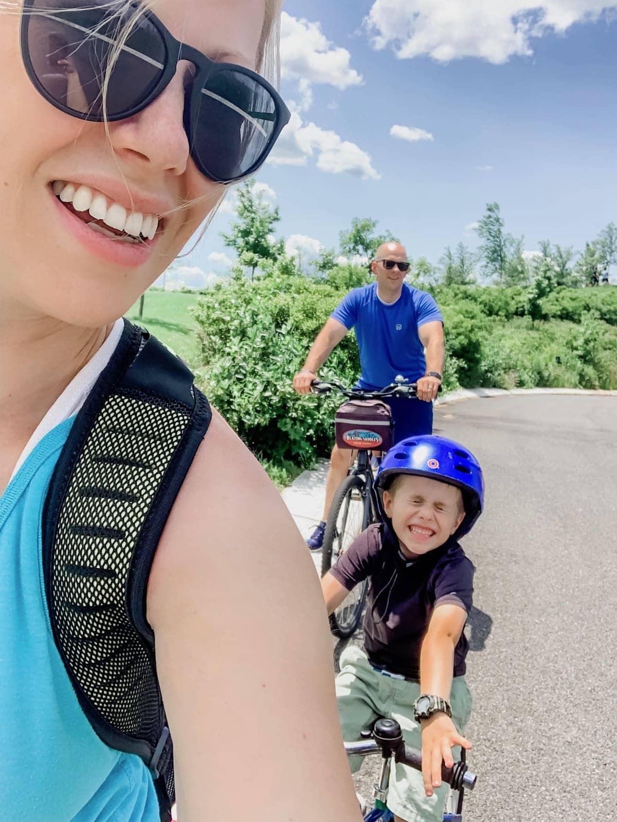 Lauren Blake and Gordon riding bicycles