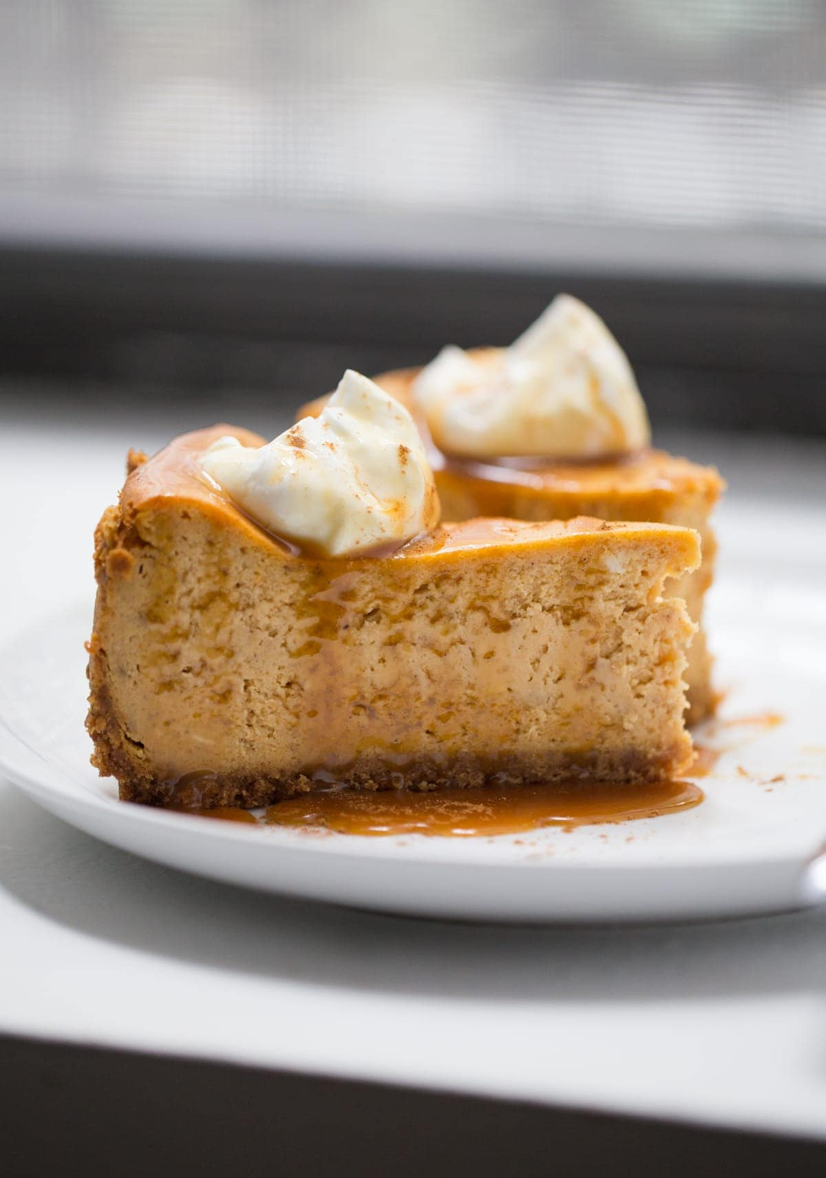Slice of Cheesecake with caramel sauce