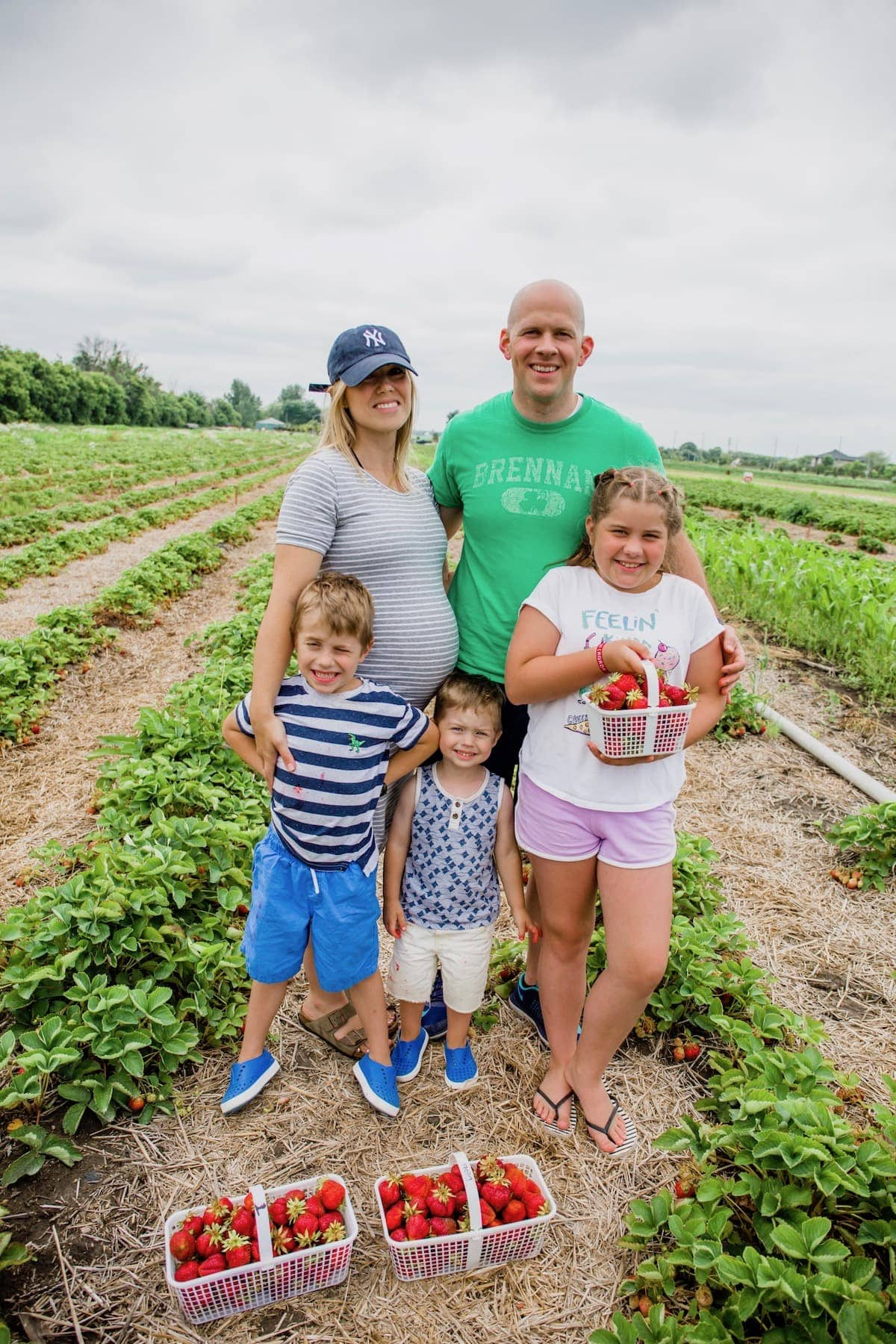 Brennan family strawberry picking