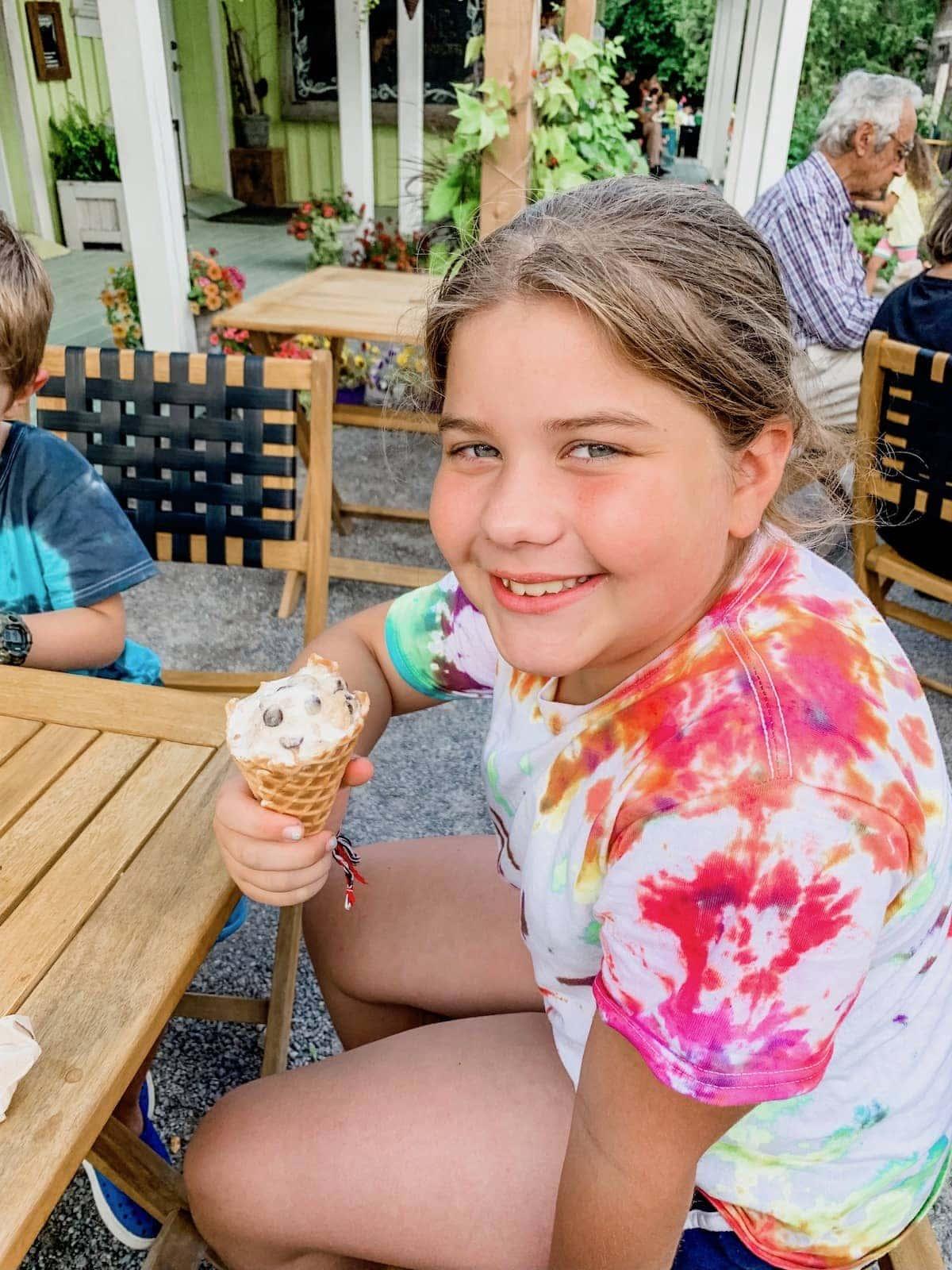 Brooke eating ice cream
