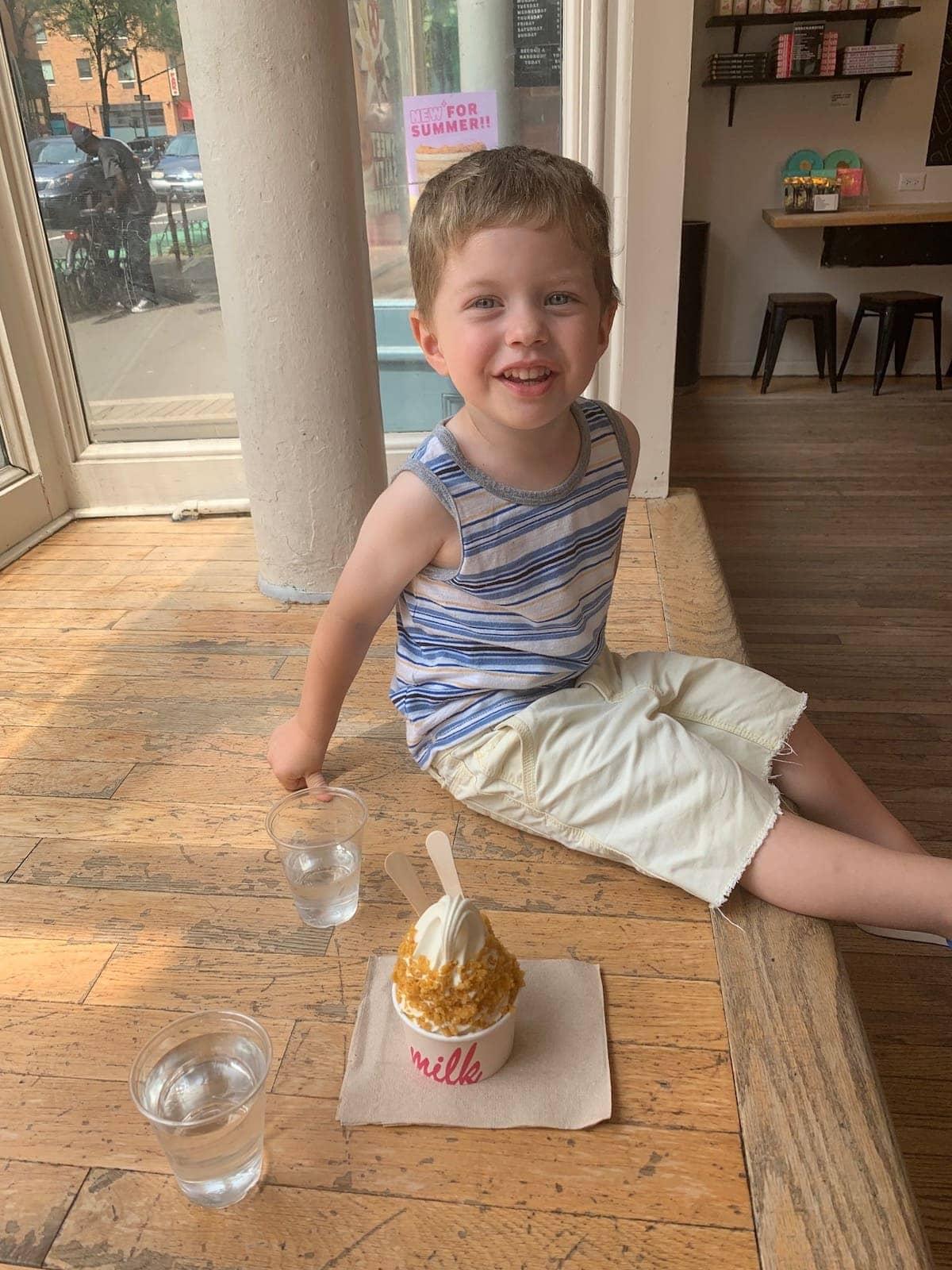 Eddie with milkbar ice cream