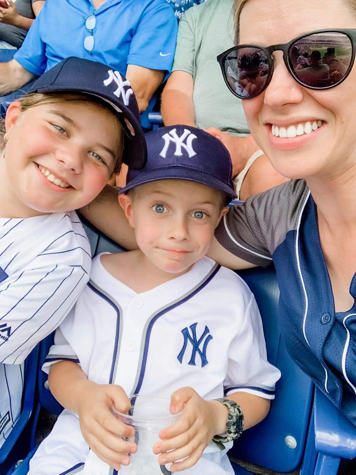 Brooke, Blake and Lauren at a baseball game