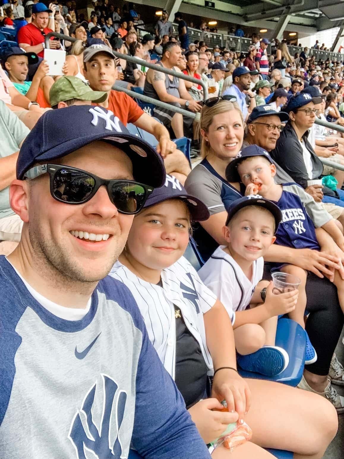 Brennan family at a baseball game