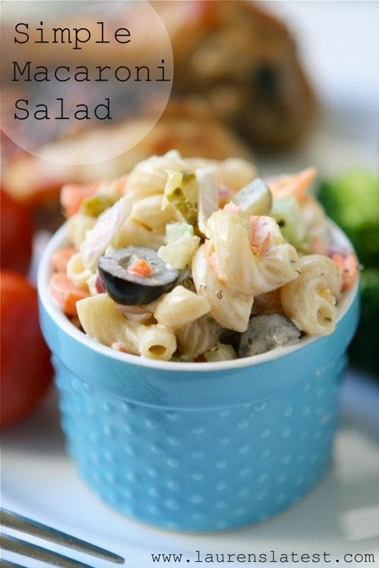 A small bowl of macaroni salad