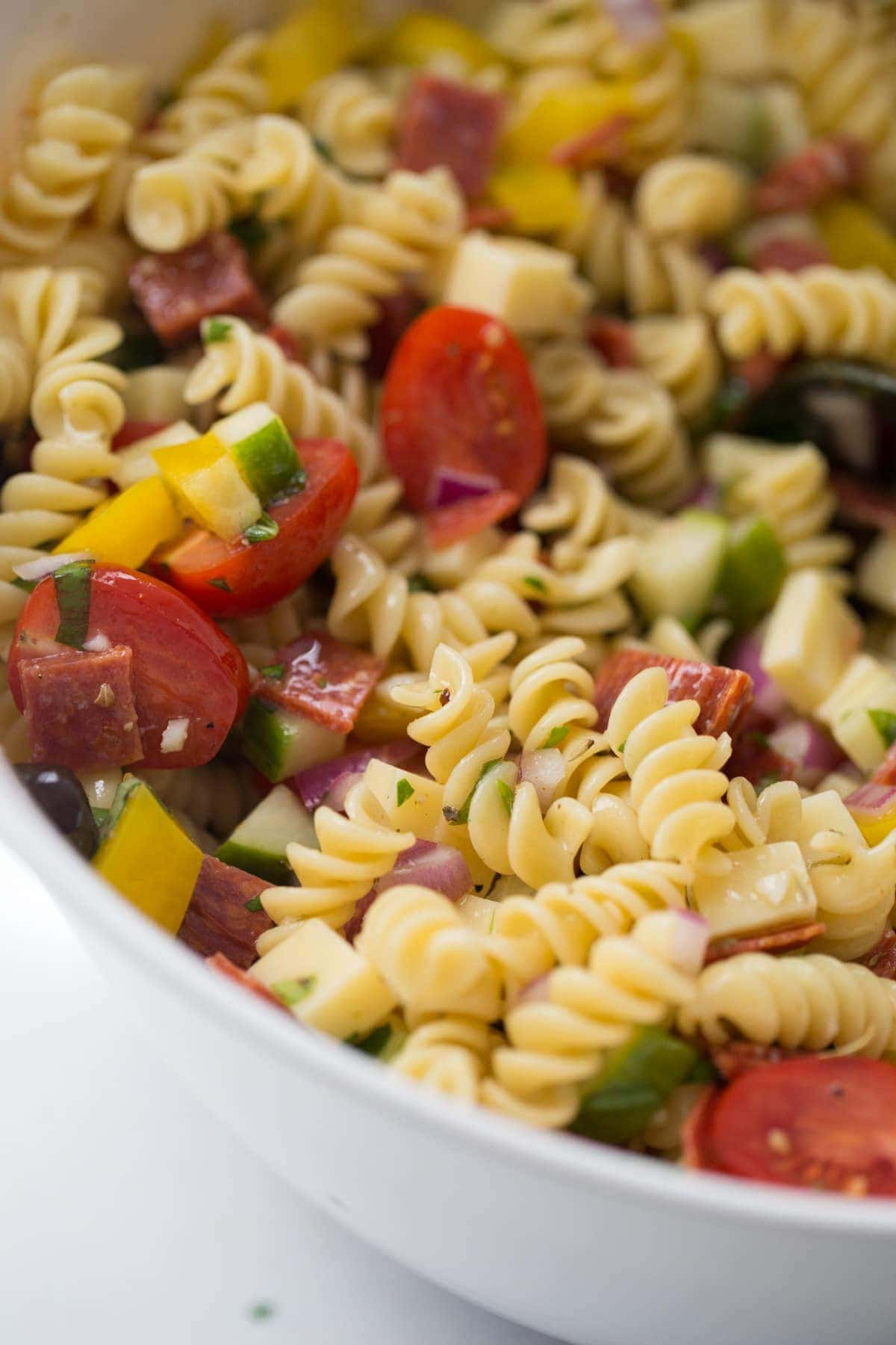 A bowl of Italian pasta salad