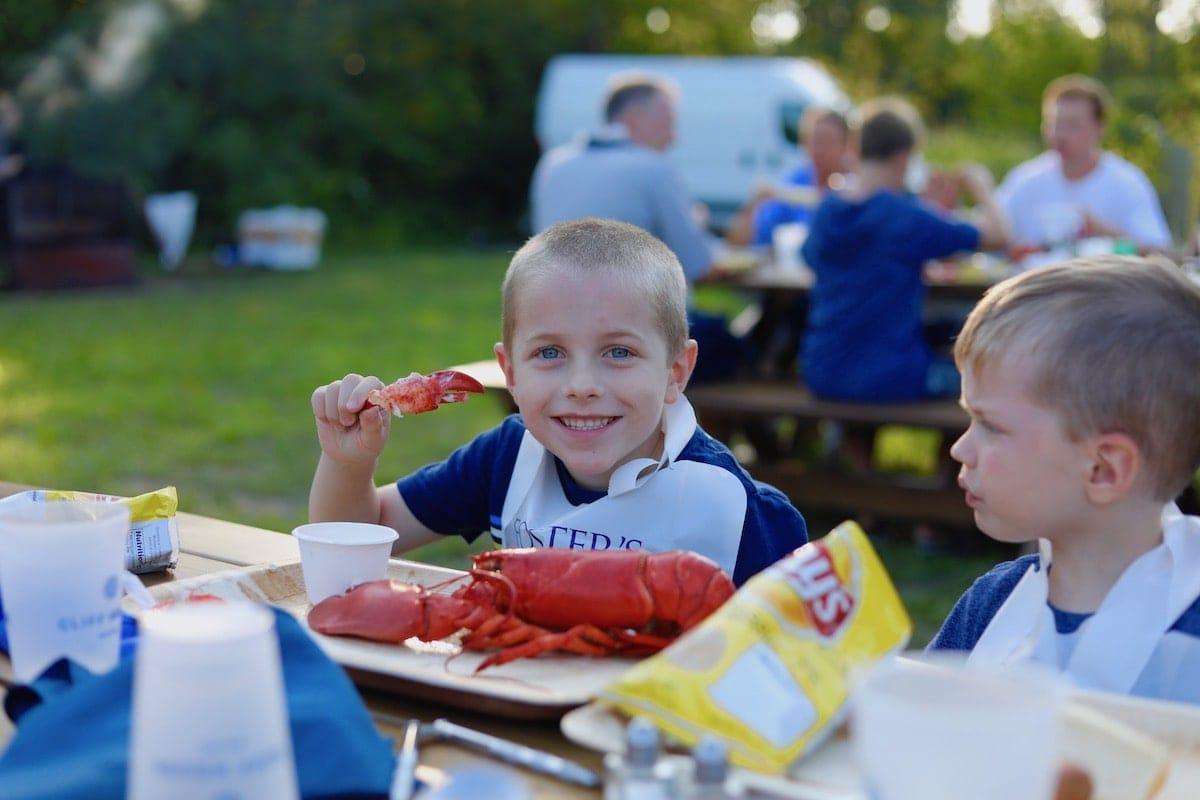 Blake eating lobster