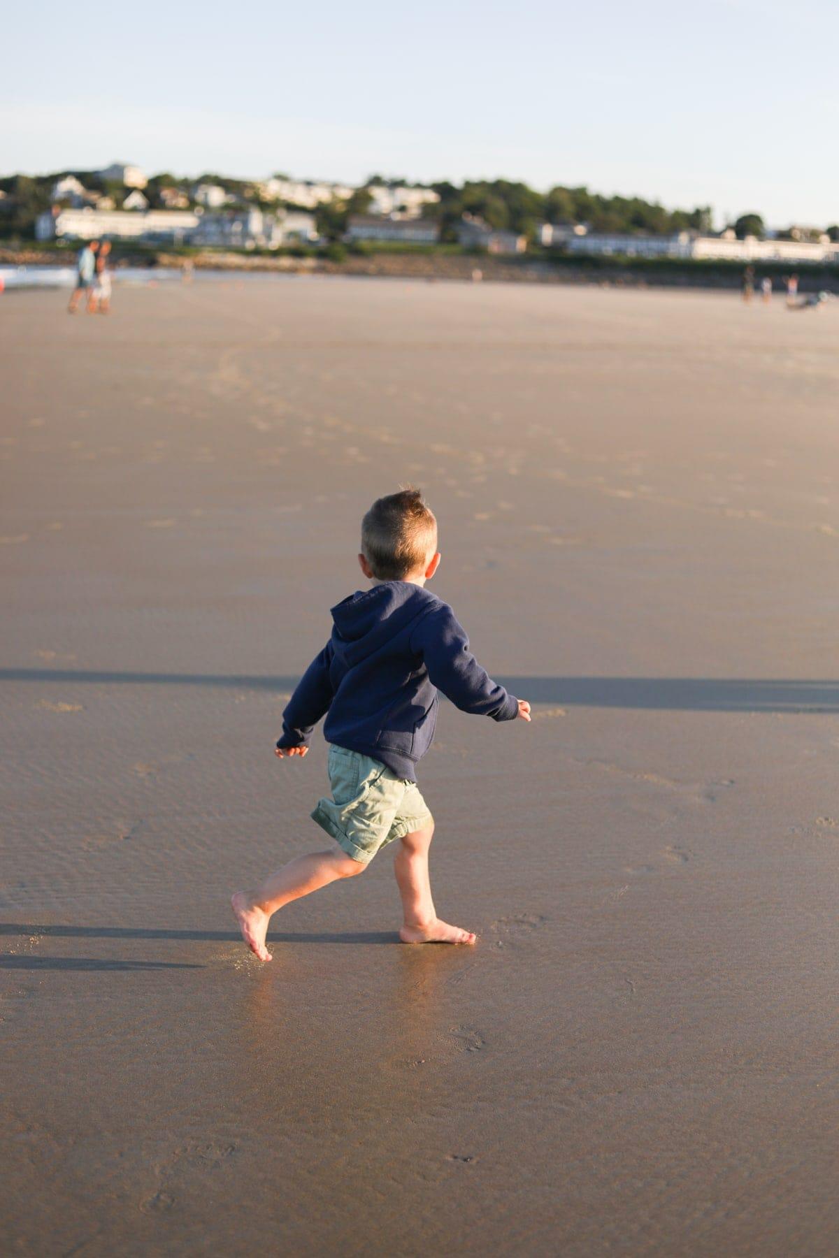 Eddie running at the beach