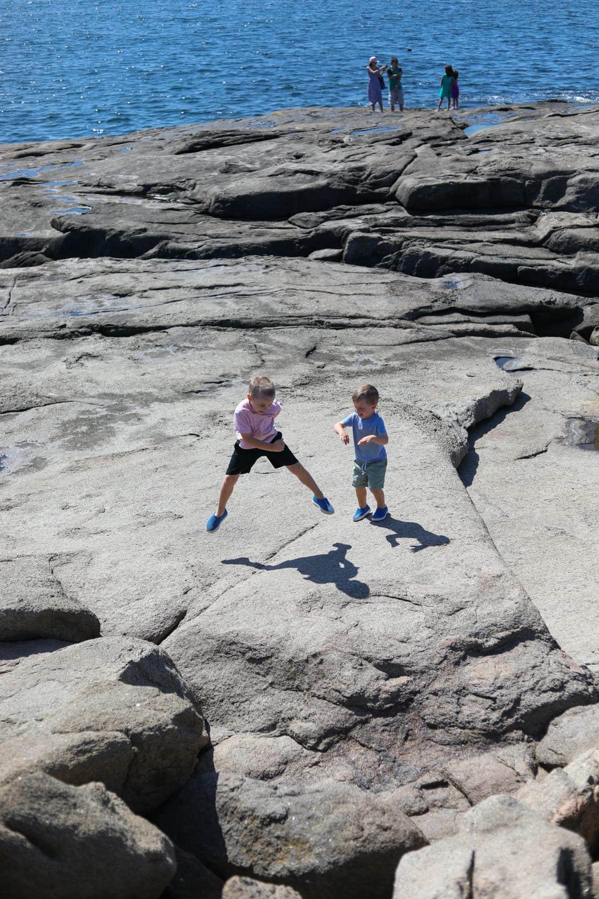 Eddie and Blake on rocks
