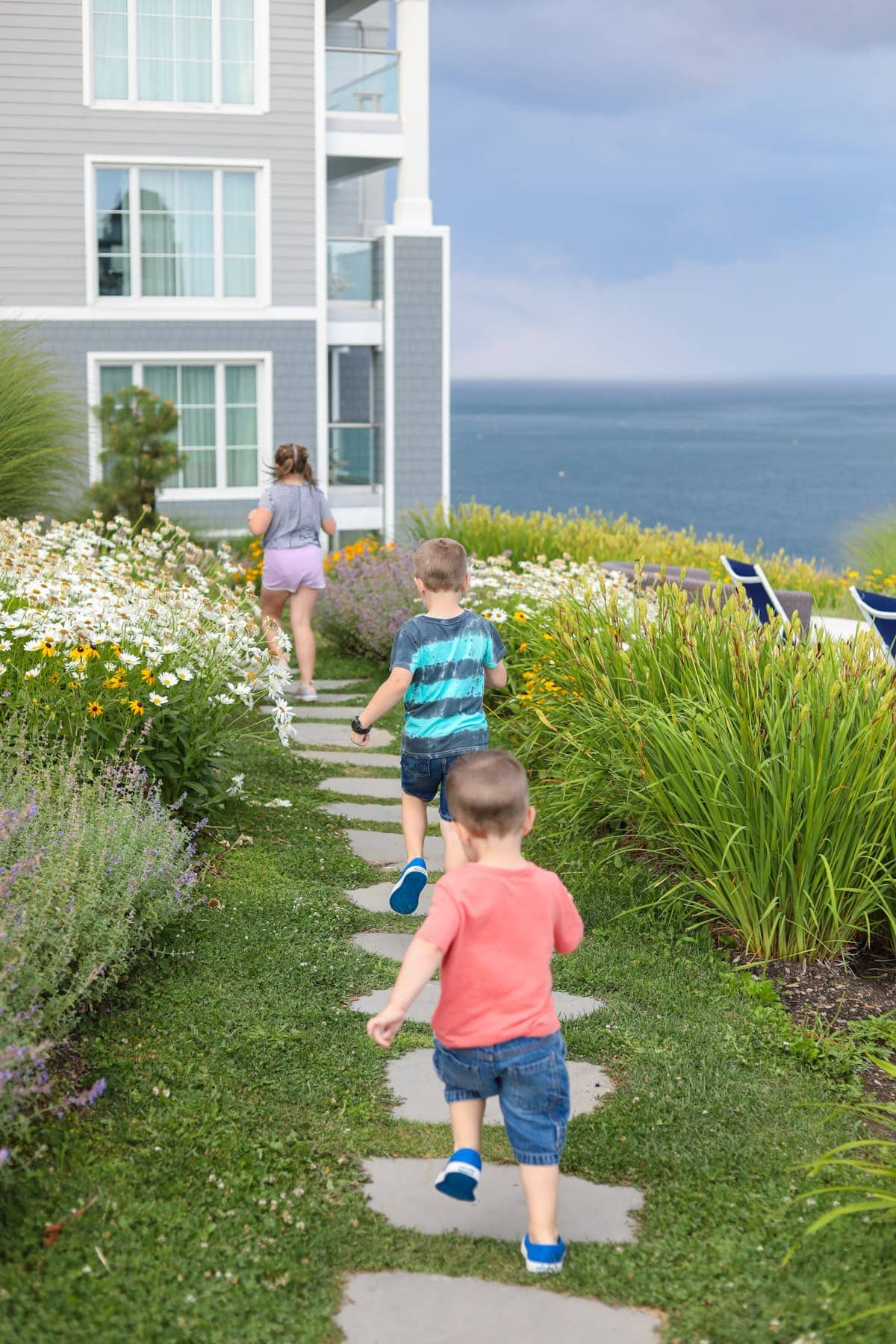 Kids walking on a path