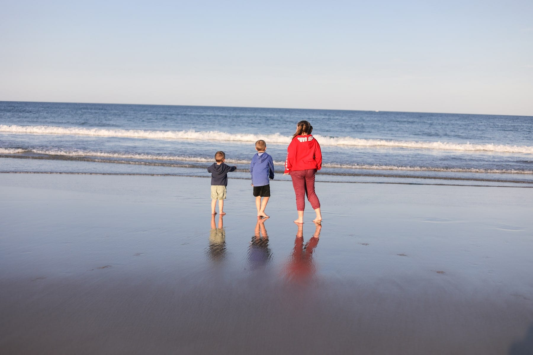 The kids looking out into the ocean