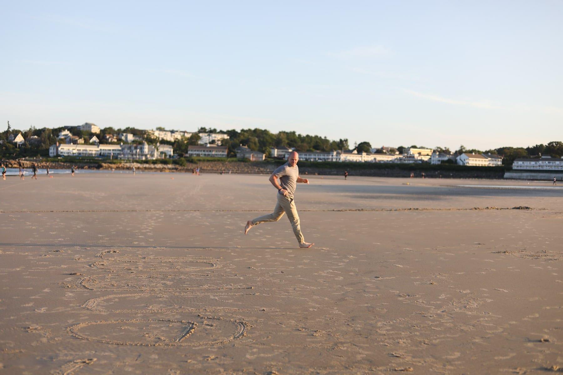 Gordon running on the beach