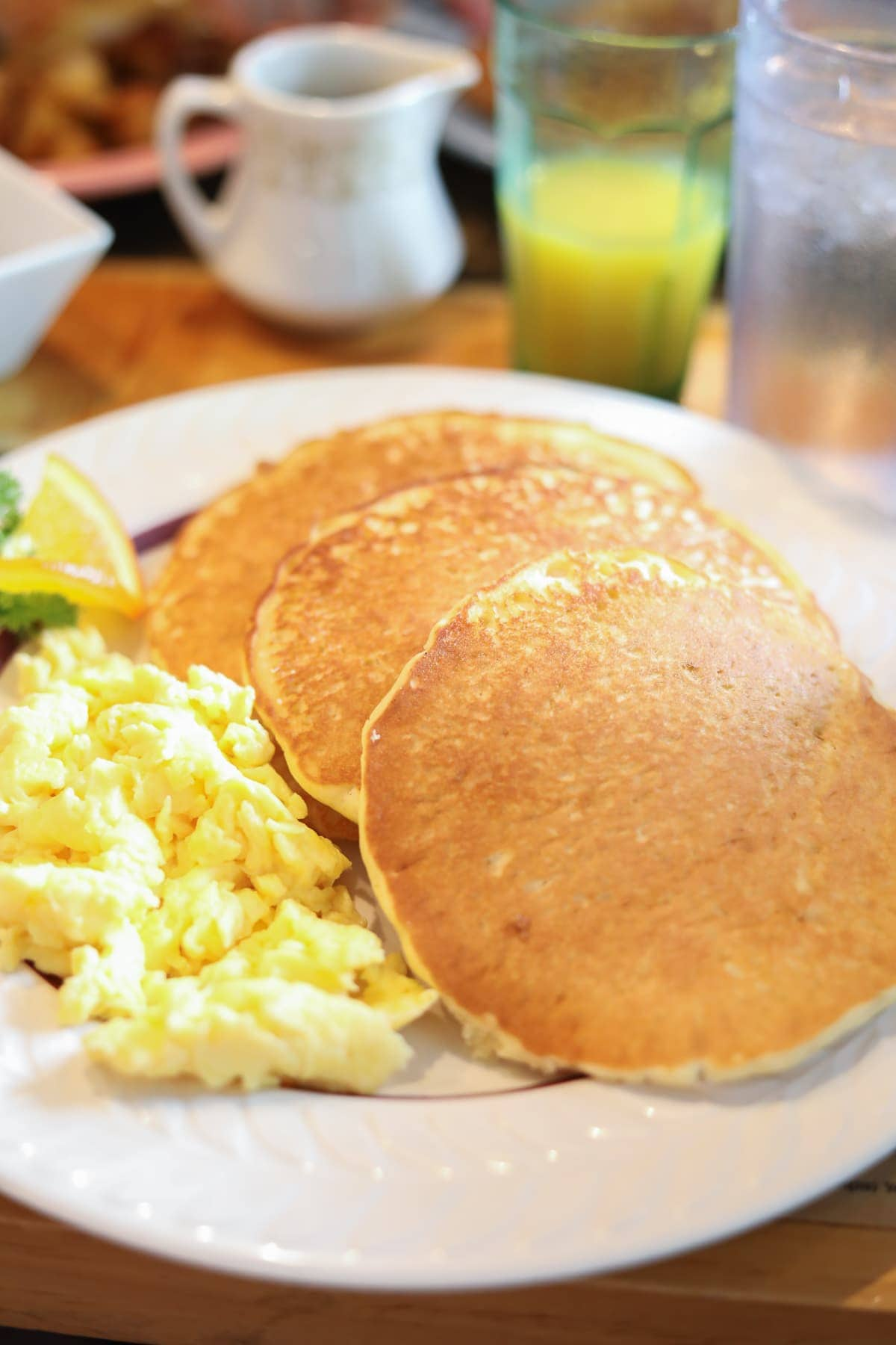 A plate of pancakes and eggs