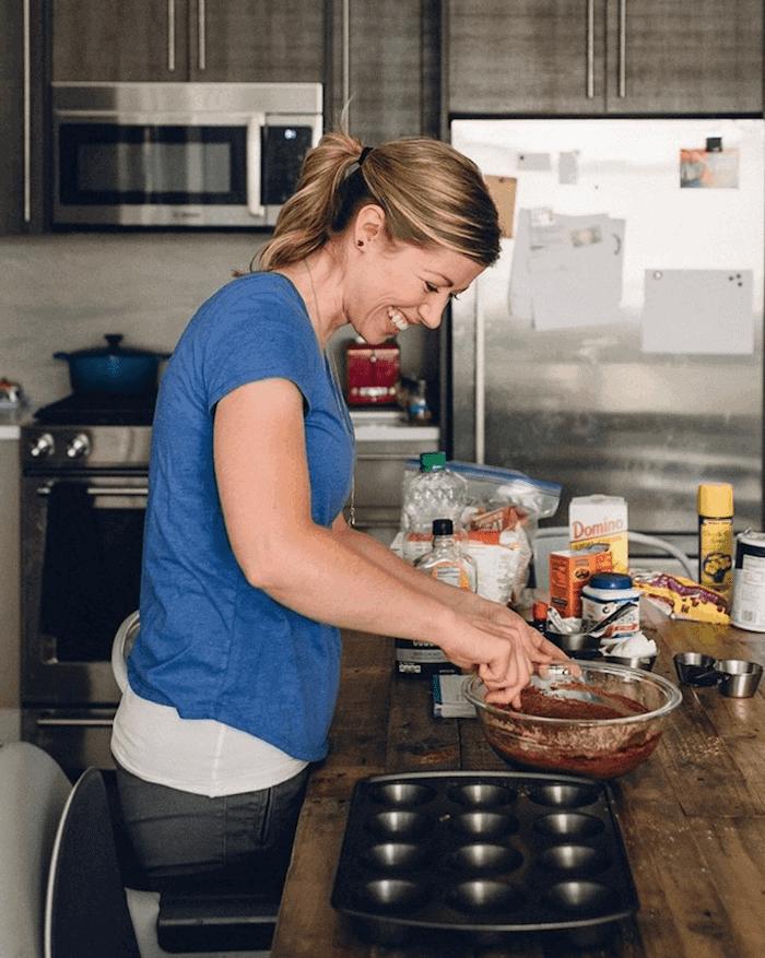 Lauren preparing food in a kitchen