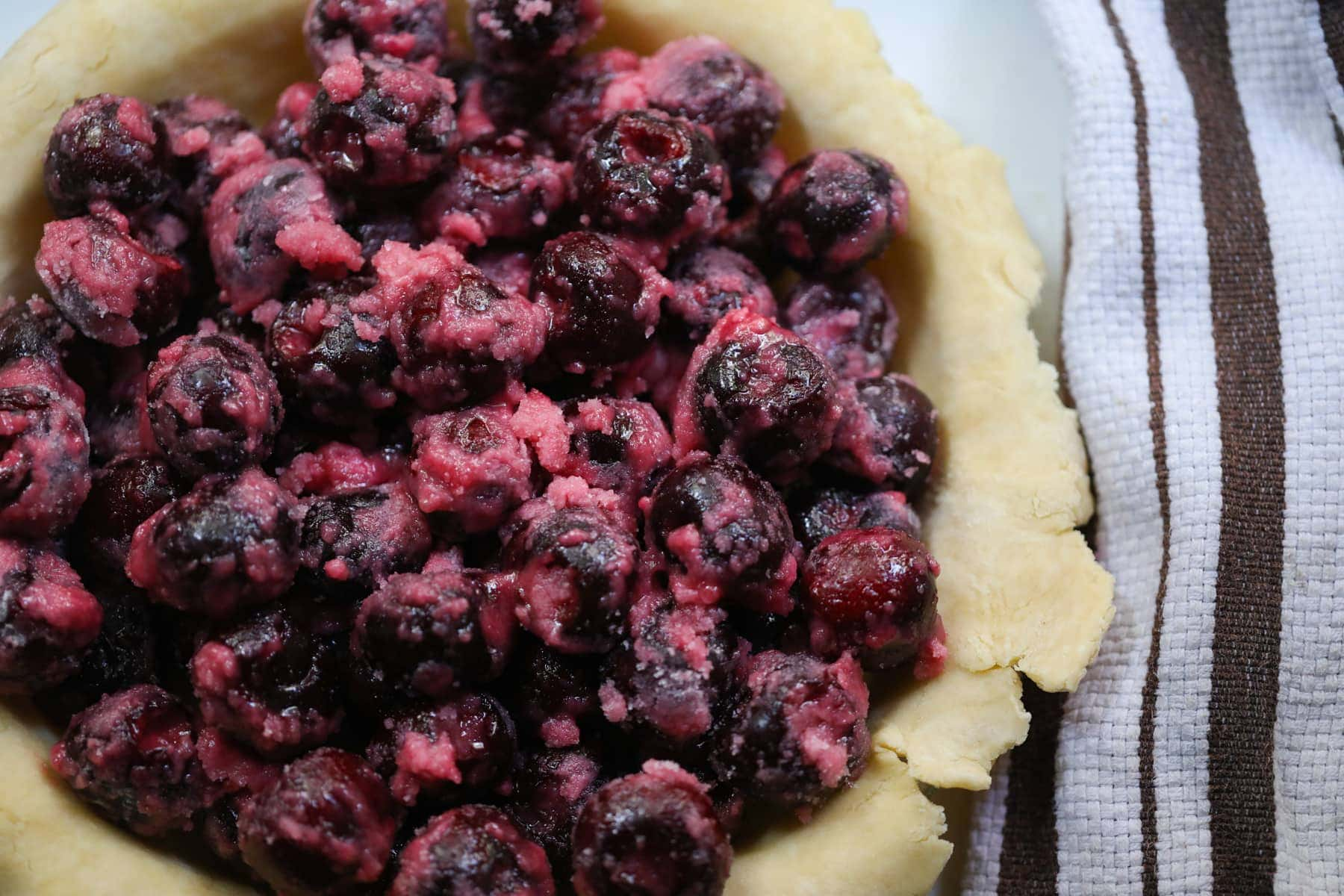cherry pie filling in pie dough