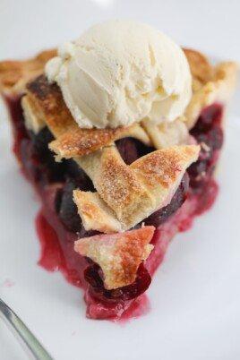 Cherry Pie with vanilla ice cream