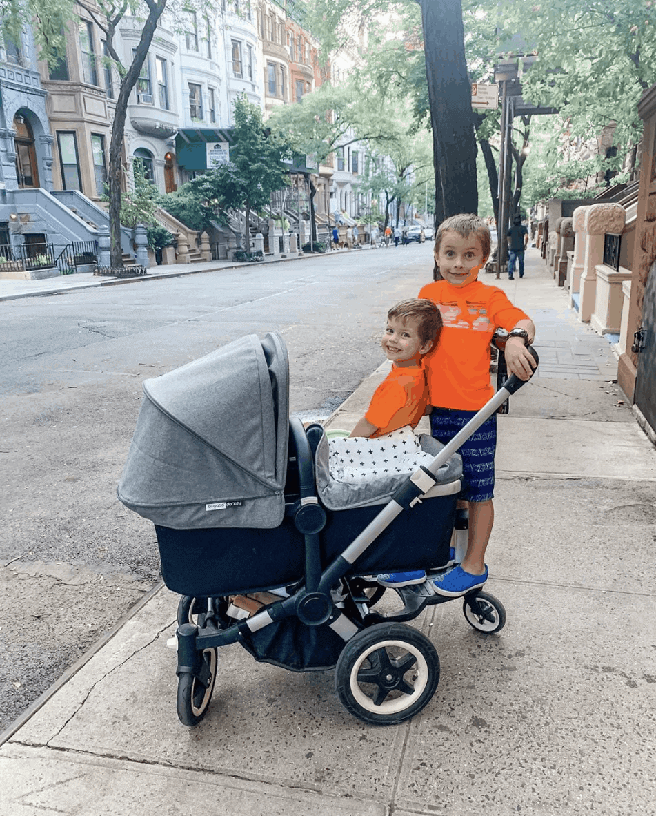 Blake and Eddie with the stroller