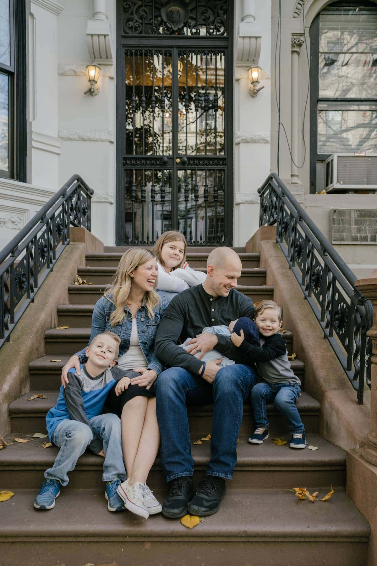 Family sitting on stairs