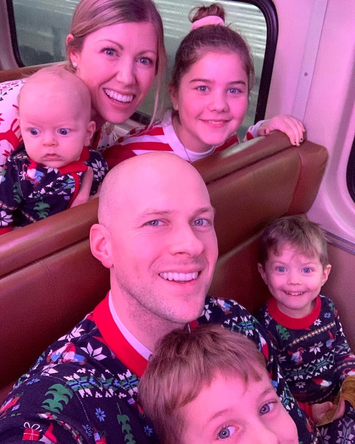 Brennan Family in a train car