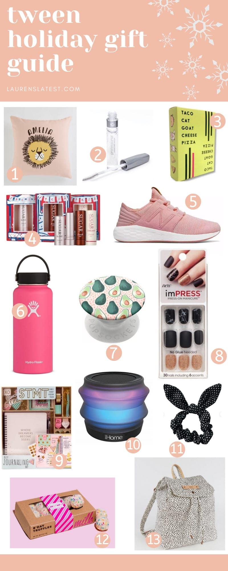 Holiday gift guide with various items