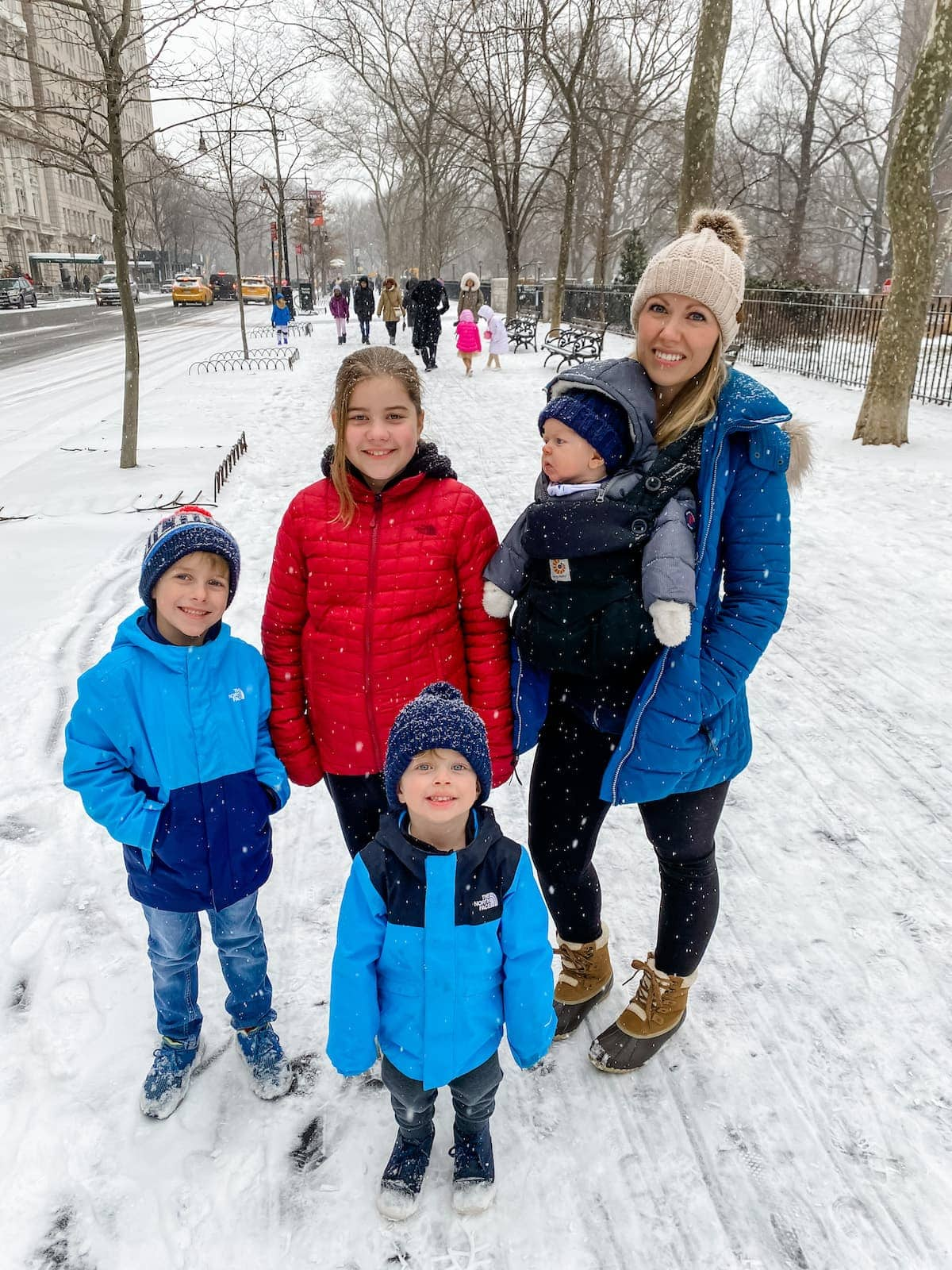Lauren and the kids in the snow