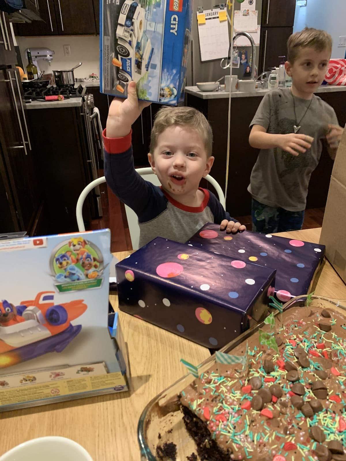 Eddie opening presents