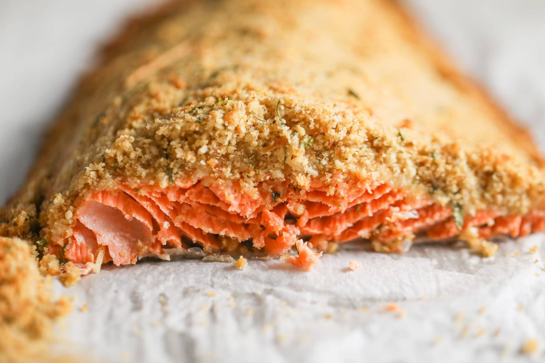 baked salmon with bread crumbs