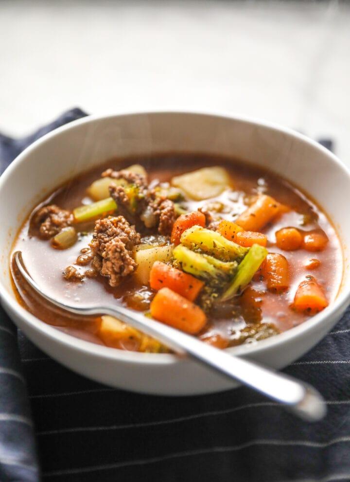 hamburger soup in bowl