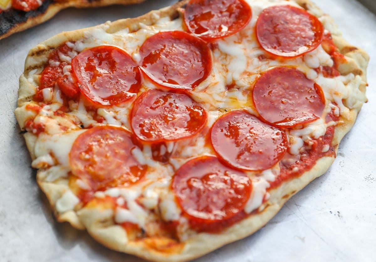 pepperoni grilled pizza