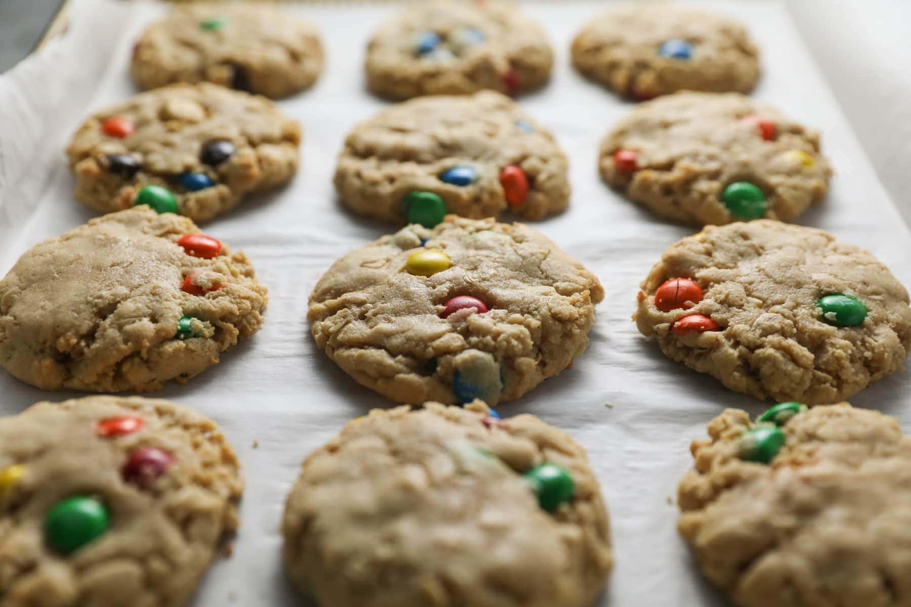 Monster Cookies on a baking sheet