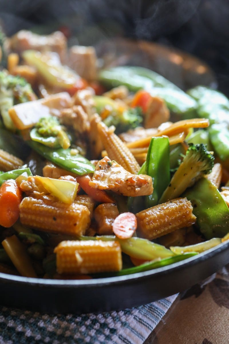 cooked stir fry in pan