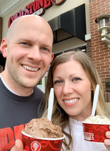 husband and wife holding ice cream