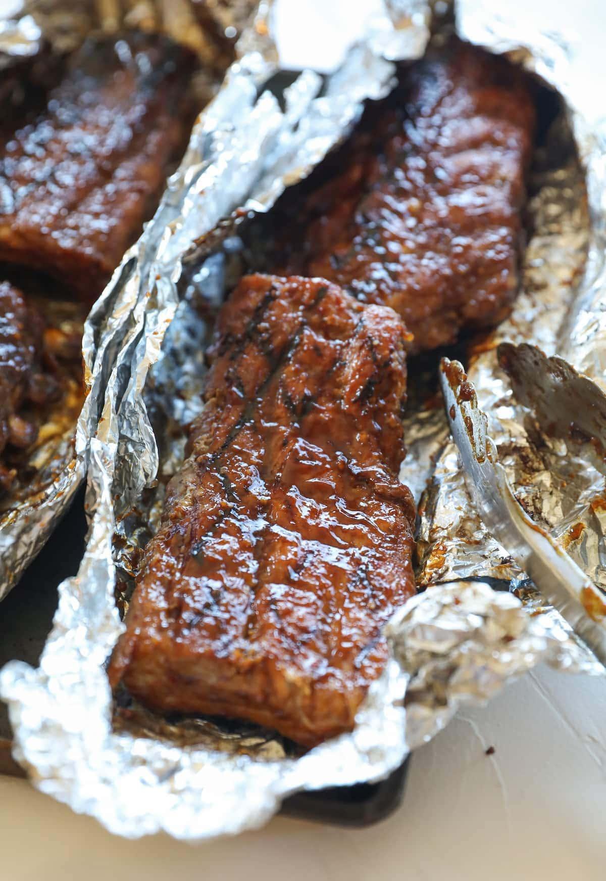 rack of ribs on foil