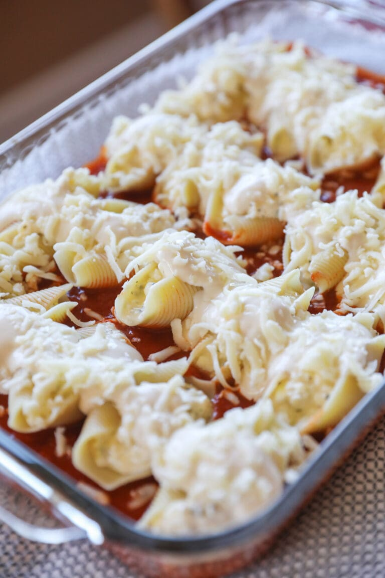 stuffed shells in pan with cheese