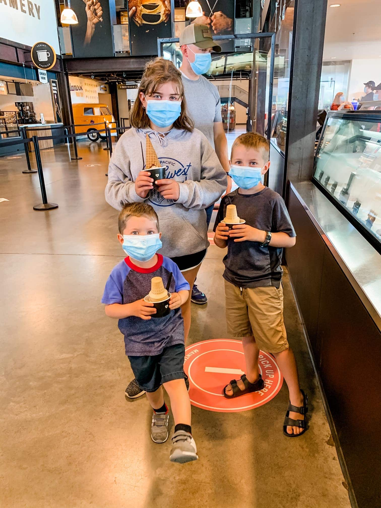 three kids with ice cream