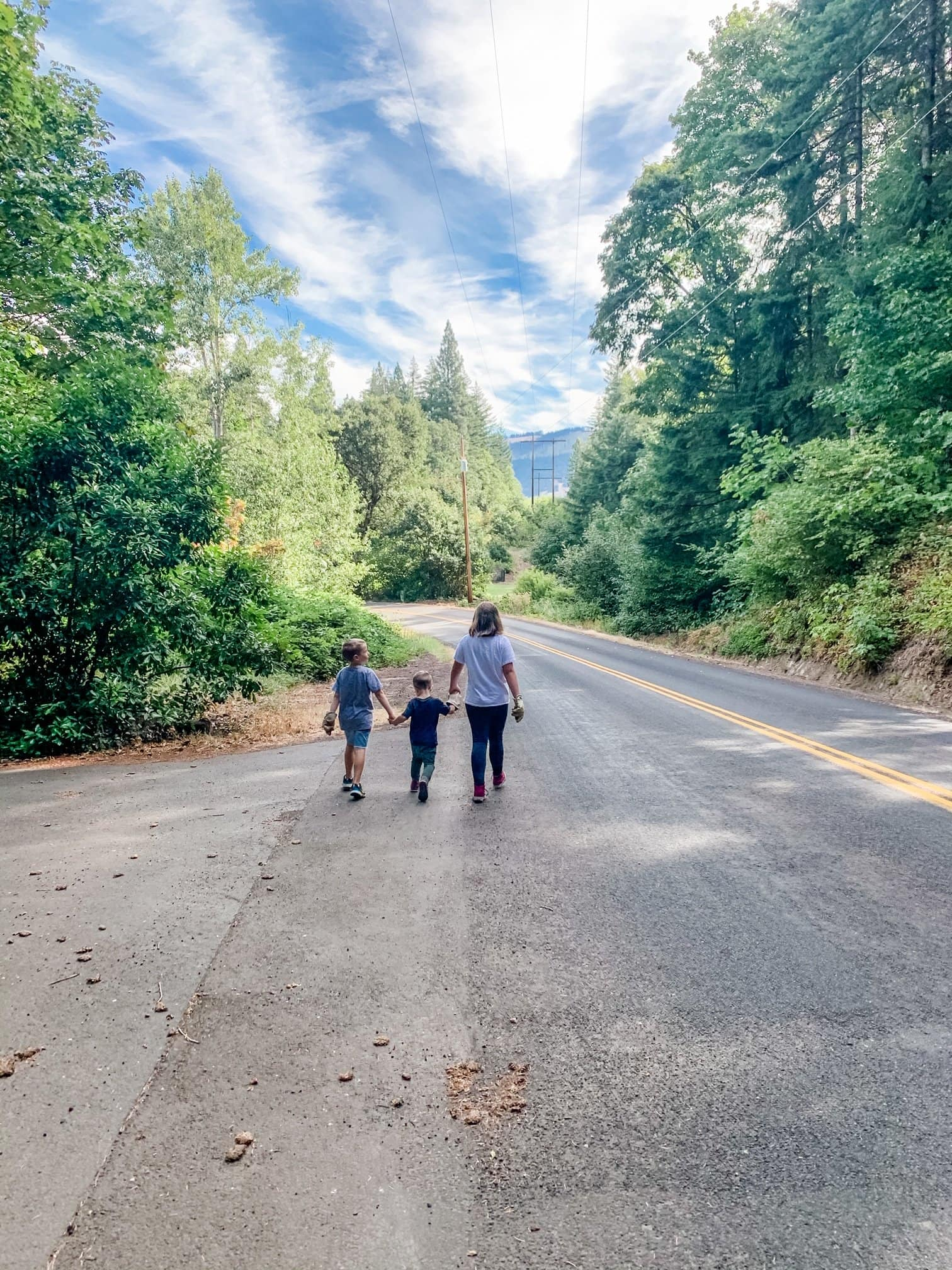 three kids walking down a country road