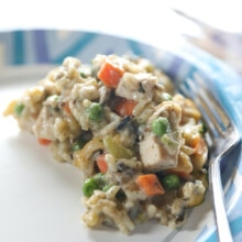 chicken wild rice casserole on blue plate