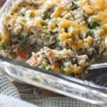 chicken wild rice casserole in glass baking dish